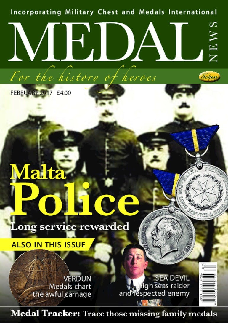 Front cover of 'Malta Police', Medal News February 2017, Volume 55, Number 2 by Token Publishing