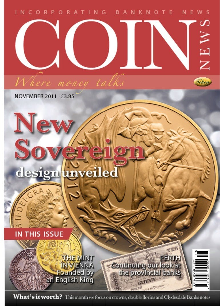 Front cover of 'New Sovereign design unveiled', Coin News November 2011, Volume 48, Number 11 by Token Publishing
