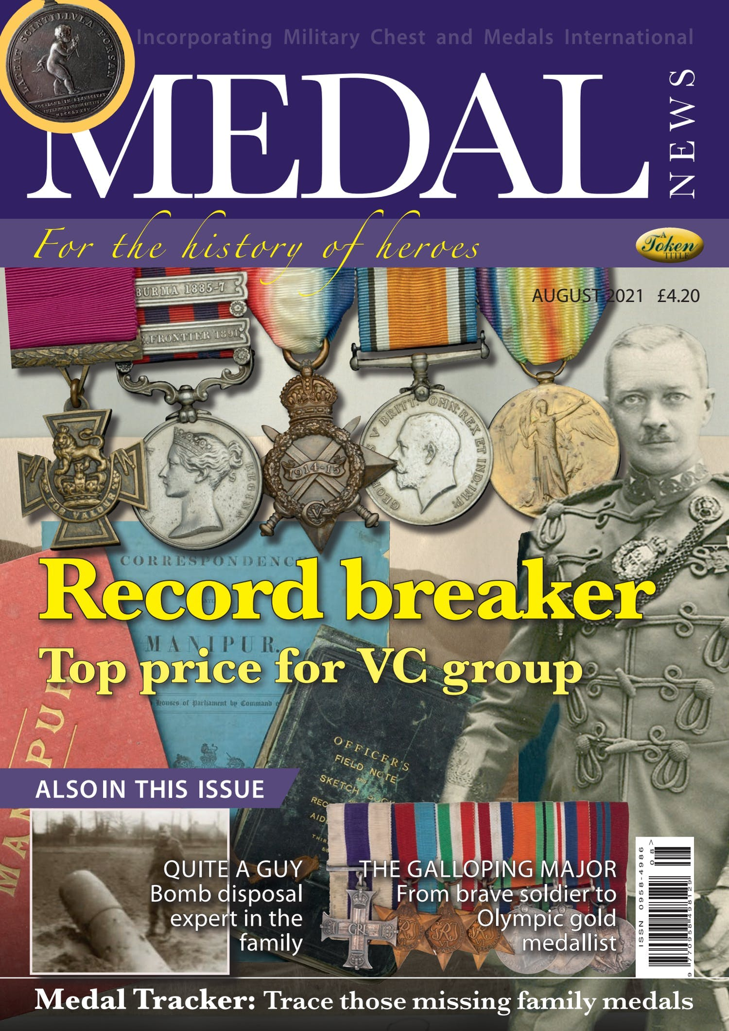 The front cover of Medal News, August 2021 - Volume 59, Number 7