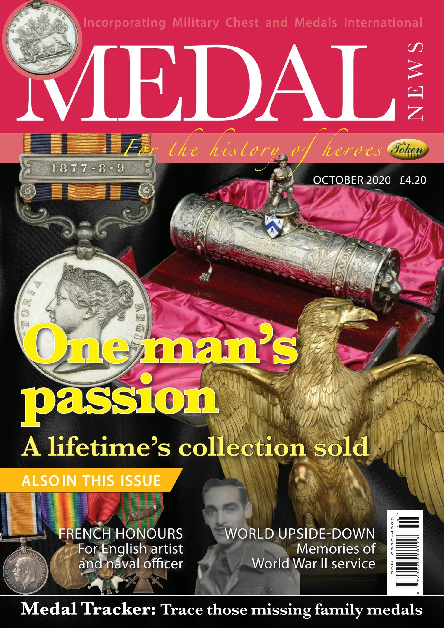 Front cover of 'One man's passion', Medal News October 2020, Volume 58, Number 9 by Token Publishing