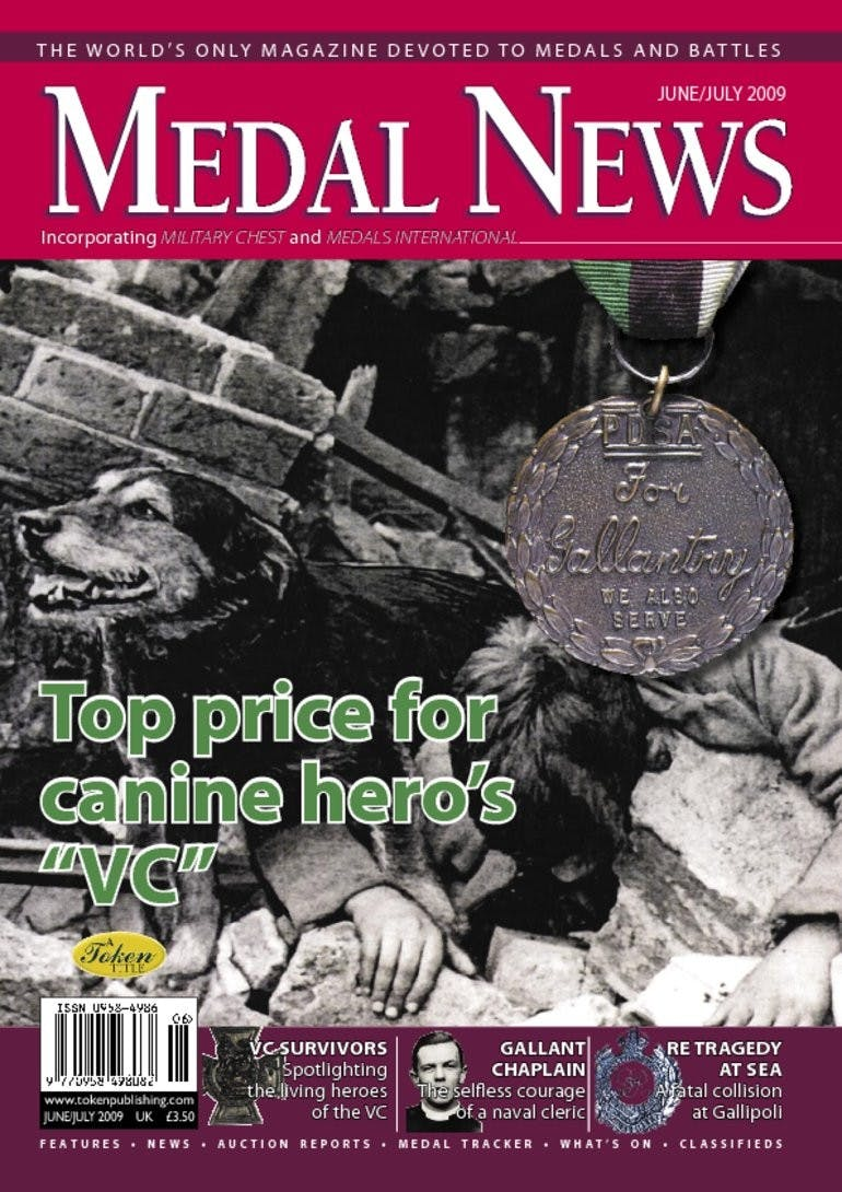 "Front cover of 'Top price for canine hero's ""VC""', Medal News June 2009, Volume 47, Number 6 by Token Publishing"