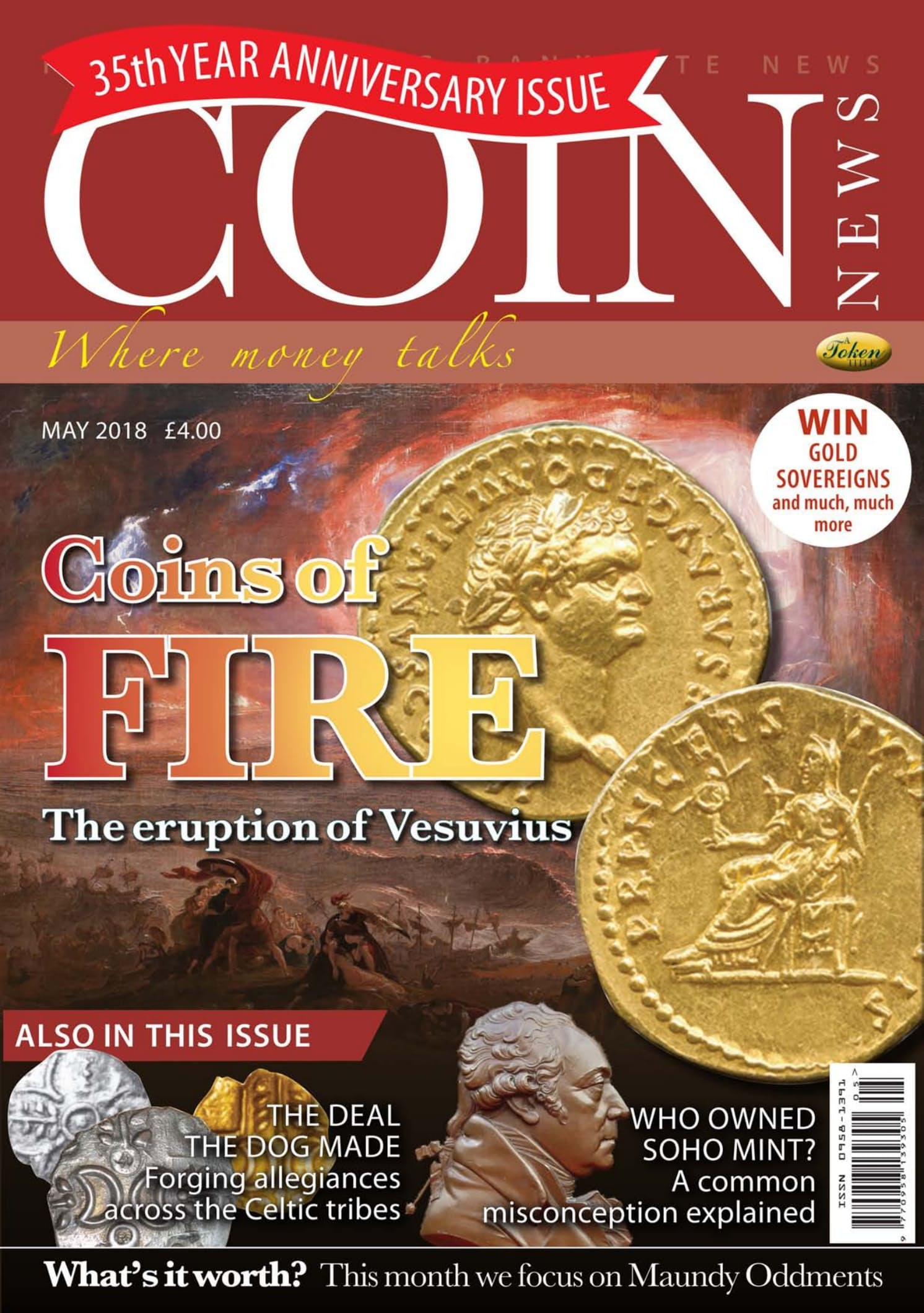 Front cover of 'Coins of Fire', Coin News May 2018, Volume 55, Number 5 by Token Publishing