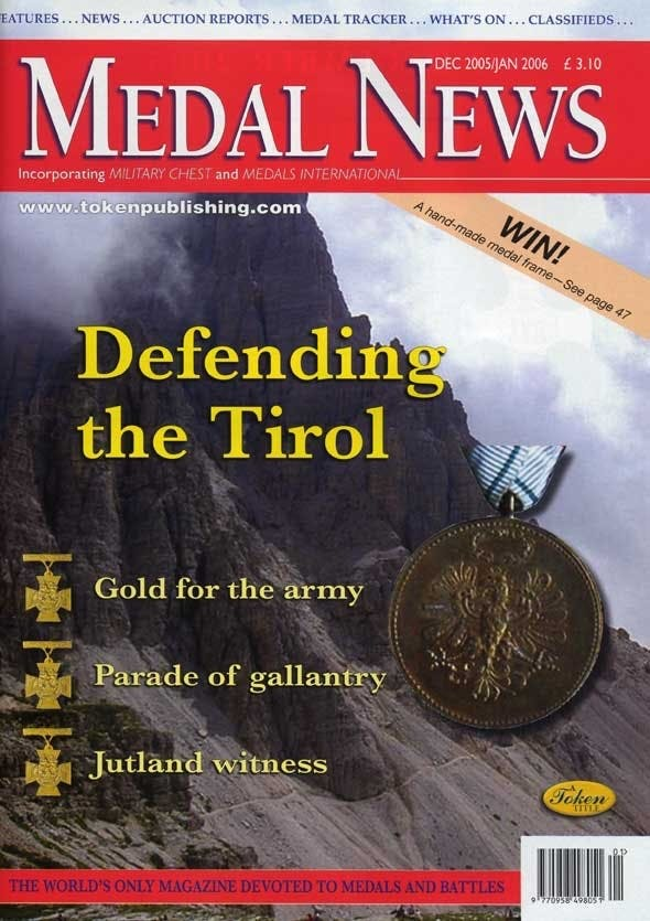 Front cover of 'Custodians of History', Medal News December 2005, Volume 44, Number 1 by Token Publishing