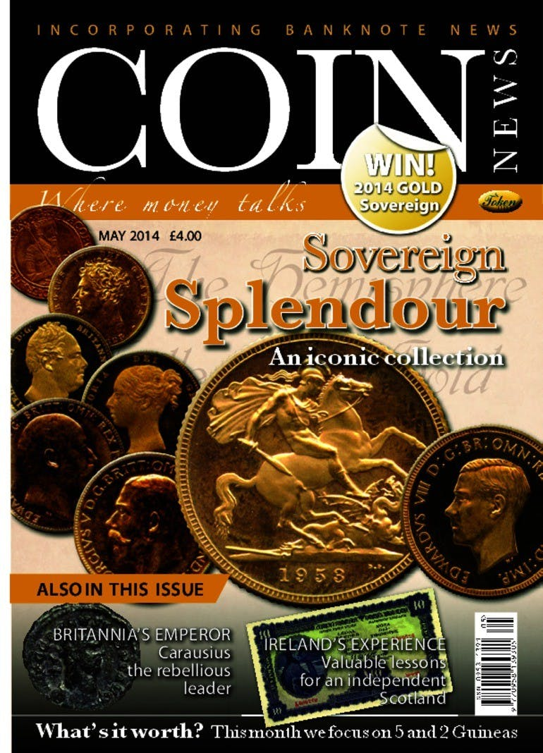 Front cover of 'sovereign splendour', Coin News May 2014, Volume 51, Number 5 by Token Publishing