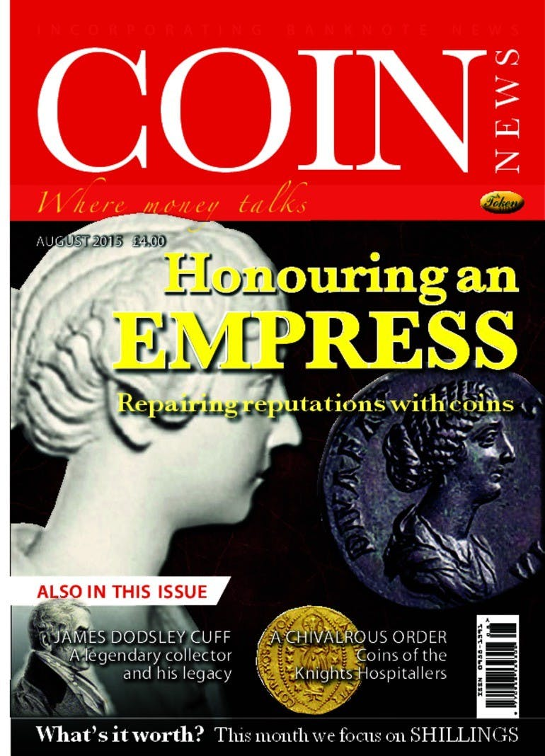 Front cover of 'Honouring an empress', Coin News August 2015, Volume 52, Number 8 by Token Publishing