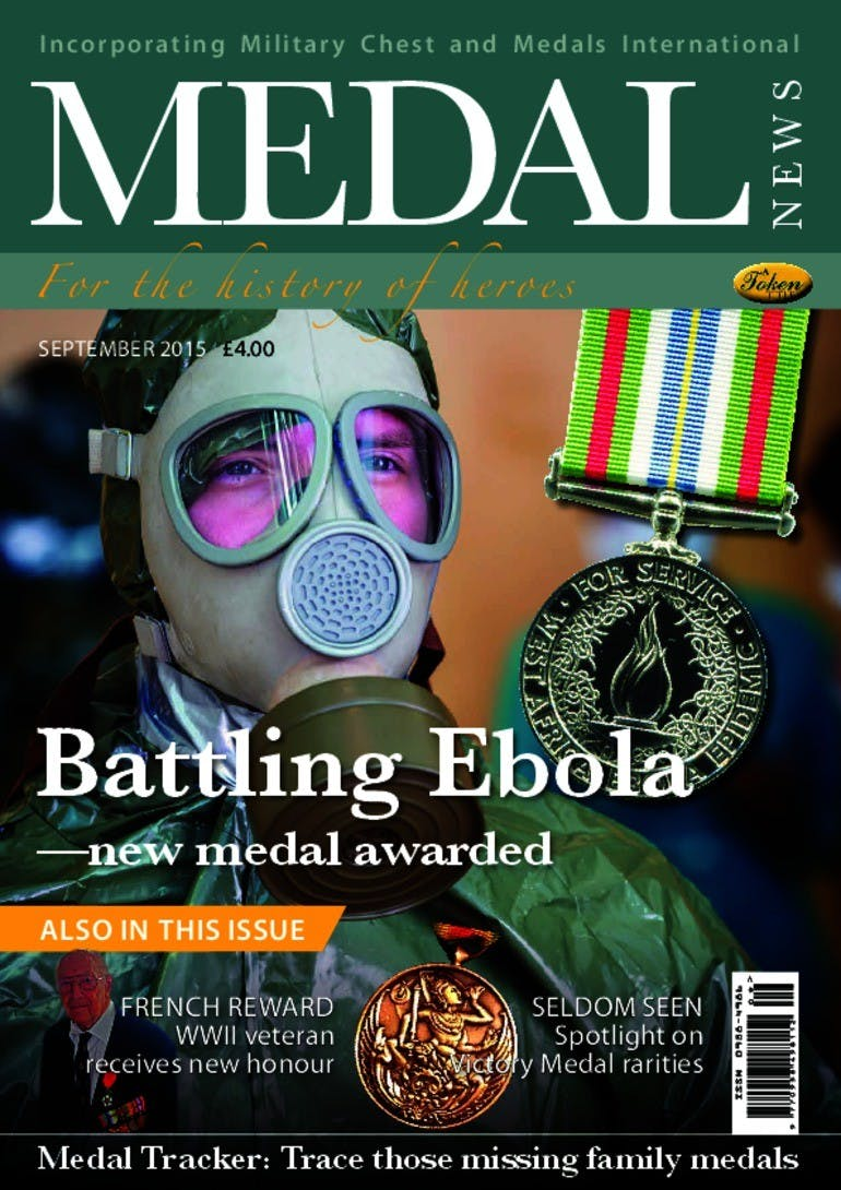 Front cover of 'Battling Ebola', Medal News September 2015, Volume 53, Number 8 by Token Publishing