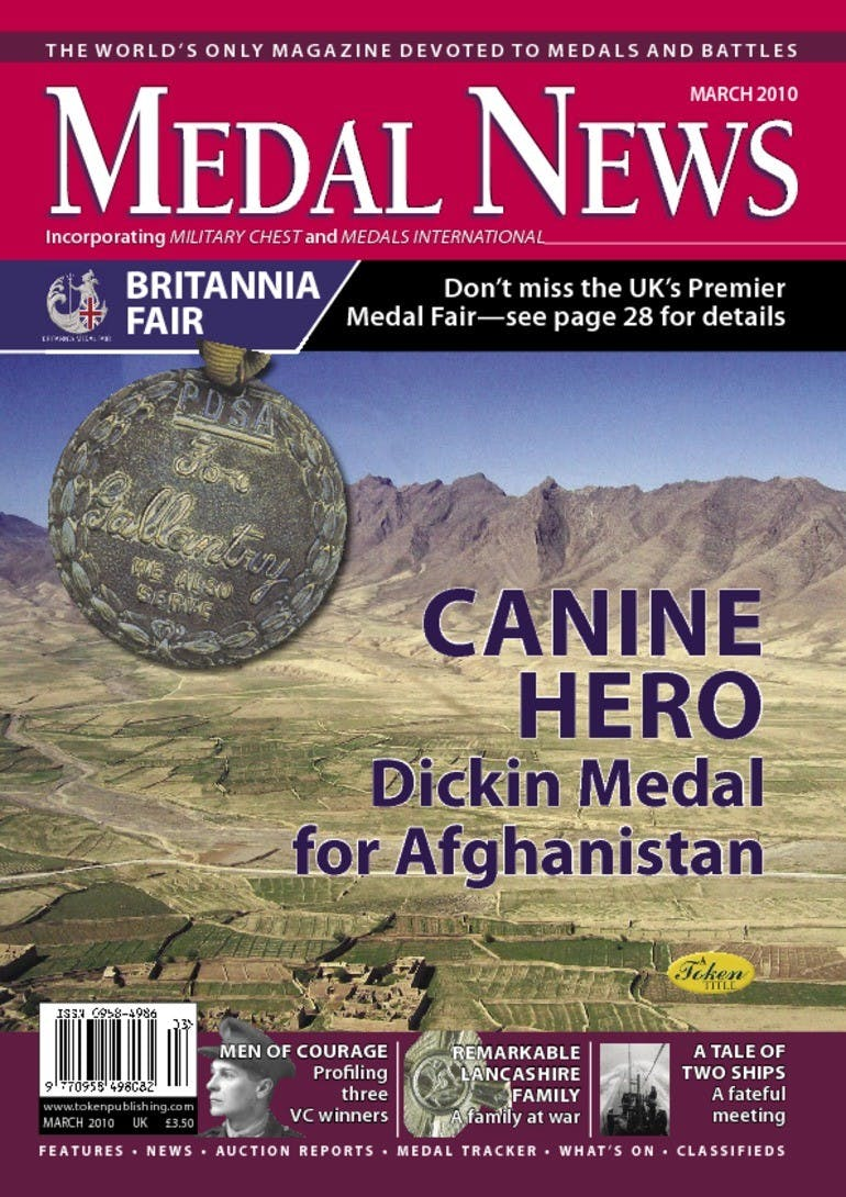 Front cover of 'Canine Hero', Medal News March 2010, Volume 48, Number 3 by Token Publishing