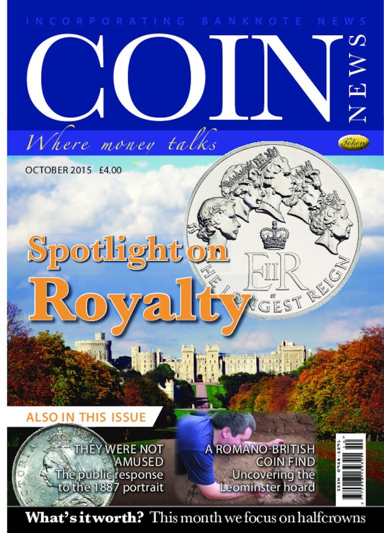 Front cover of 'Spotlight on Royalty', Coin News October 2015, Volume 52, Number 10 by Token Publishing
