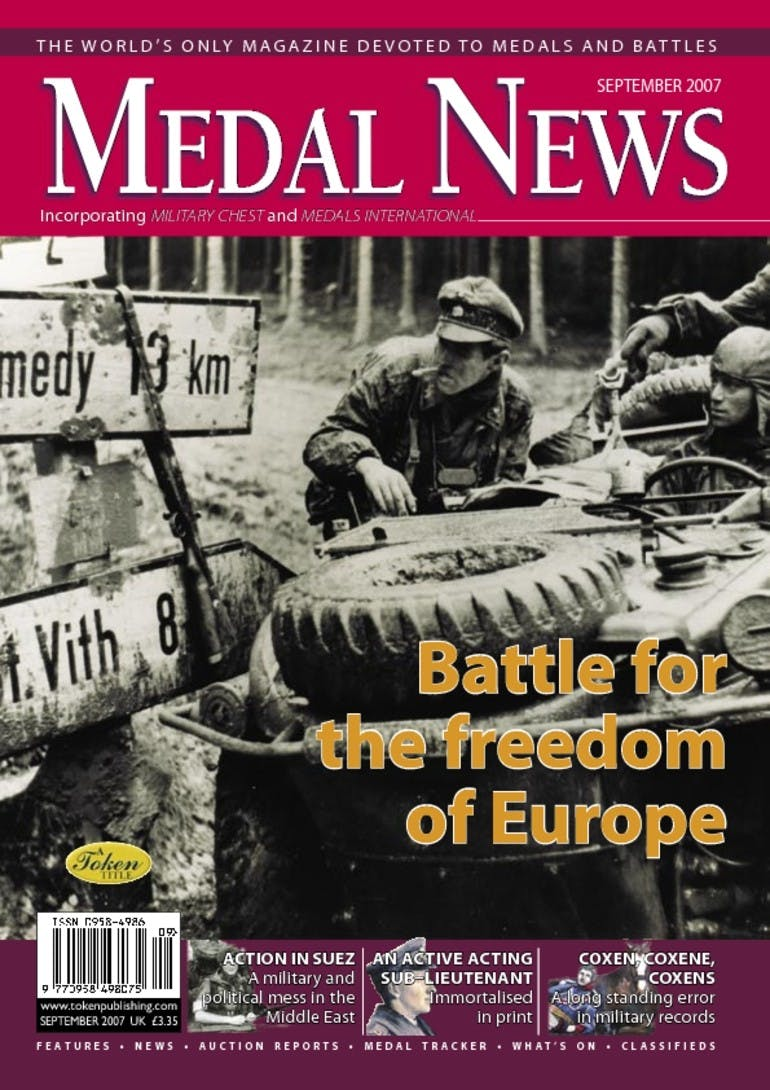Front cover of 'Battle for the freedom of Europe', Medal News September 2007, Volume 45, Number 8 by Token Publishing