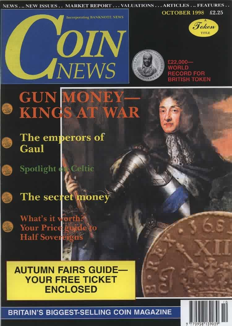 Front cover of 'THE EURO IS COMING', Coin News October 1998, Volume 35, Number 10 by Token Publishing