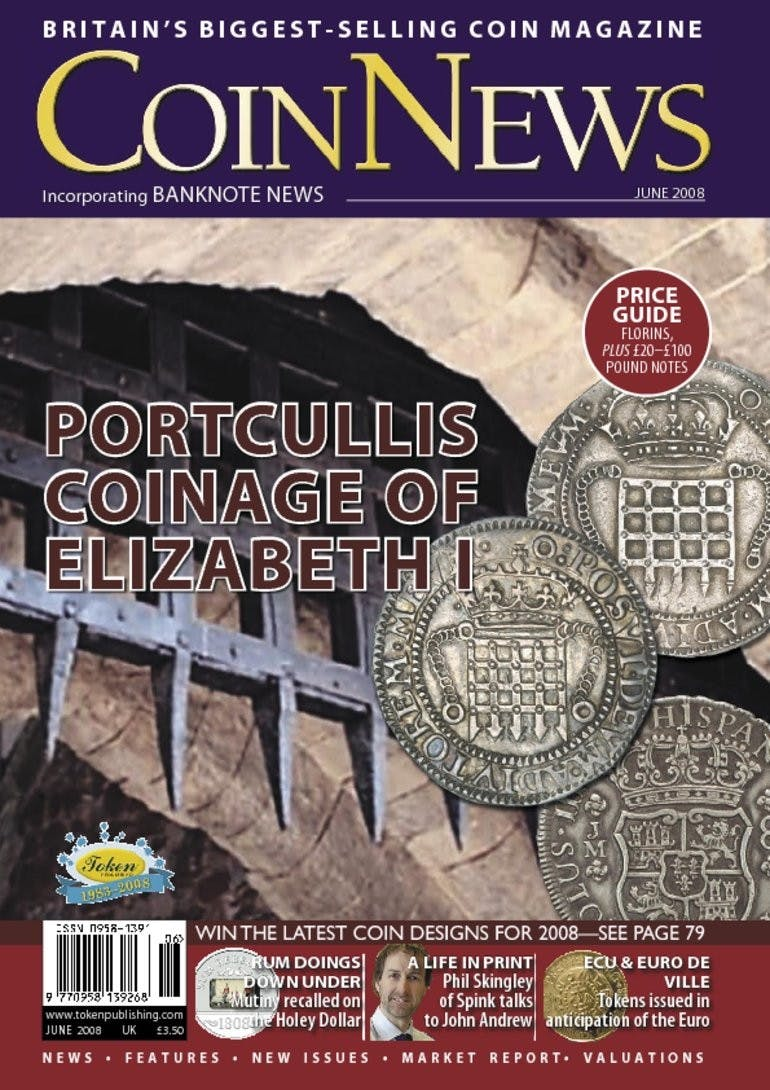 Front cover of 'Portcullis coinage of Elizabeth I', Coin News June 2008, Volume 45, Number 6 by Token Publishing
