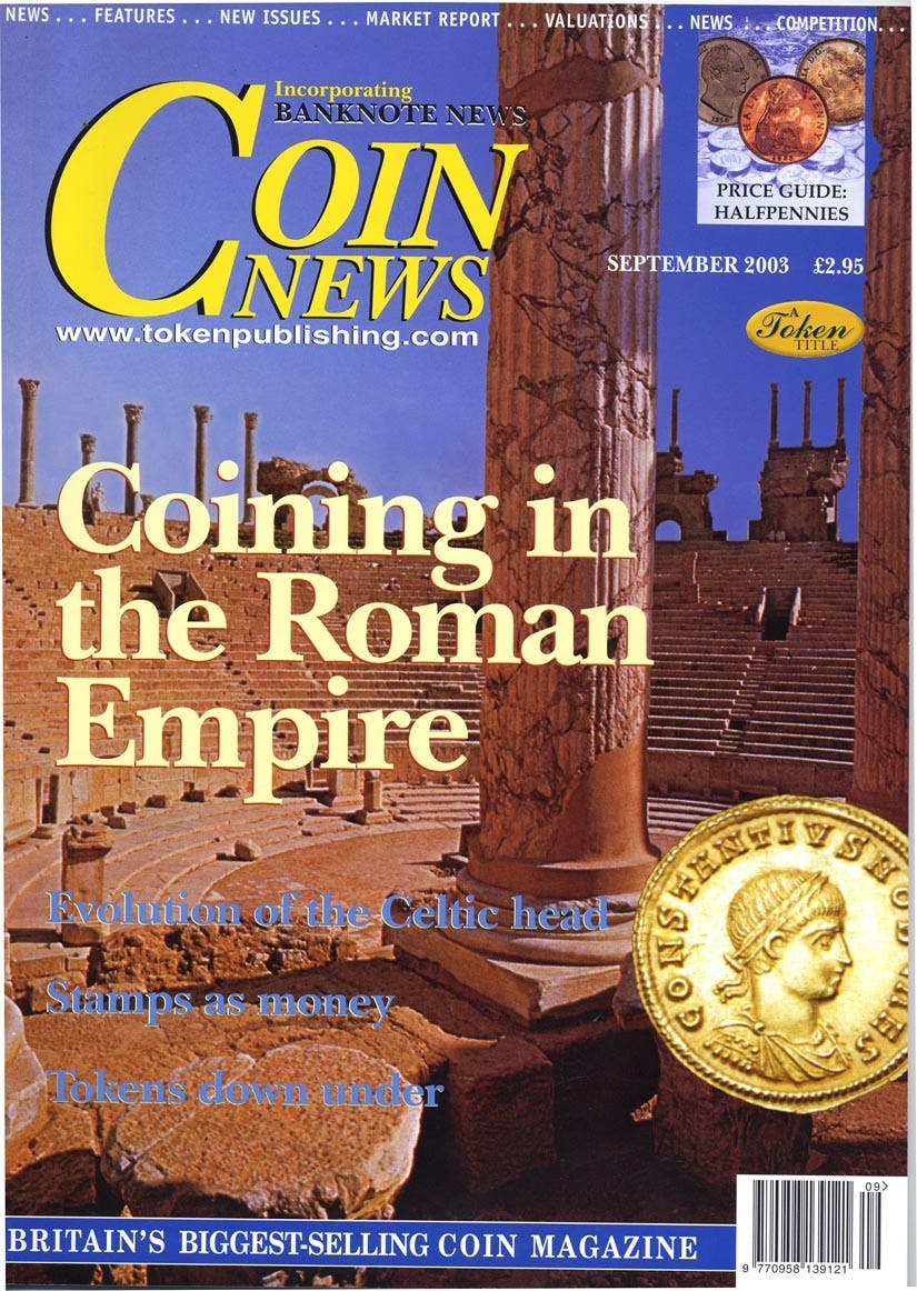 "Front cover of 'Have you heard the latest ""Coin News""?', Coin News September 2003, Volume 40, Number 9 by Token Publishing"