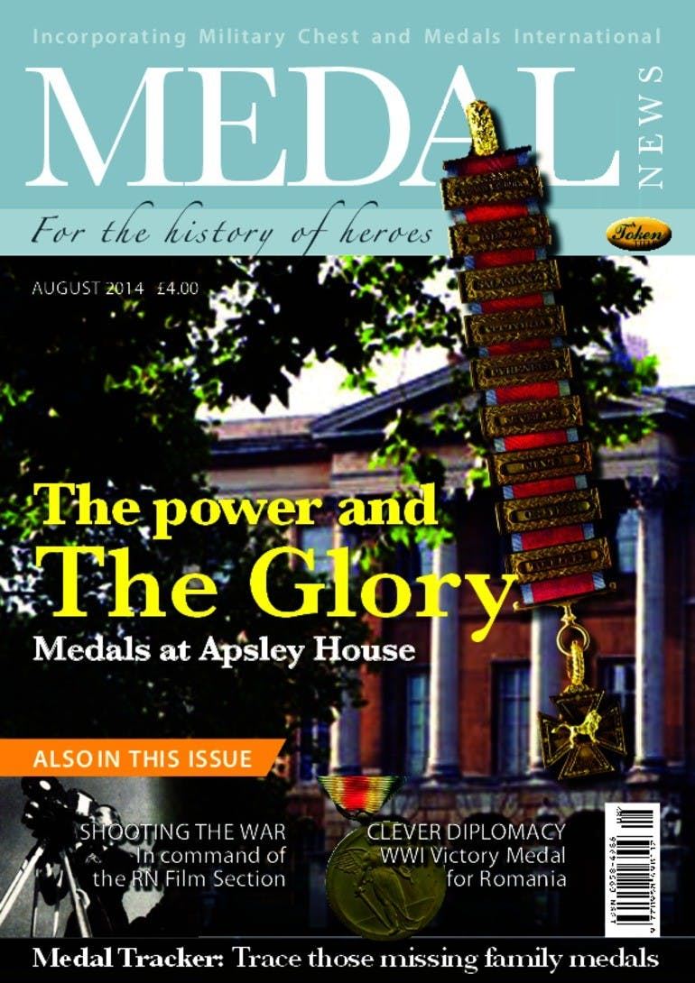 Front cover of 'The power and the glory', Medal News August 2014, Volume 52, Number 7 by Token Publishing