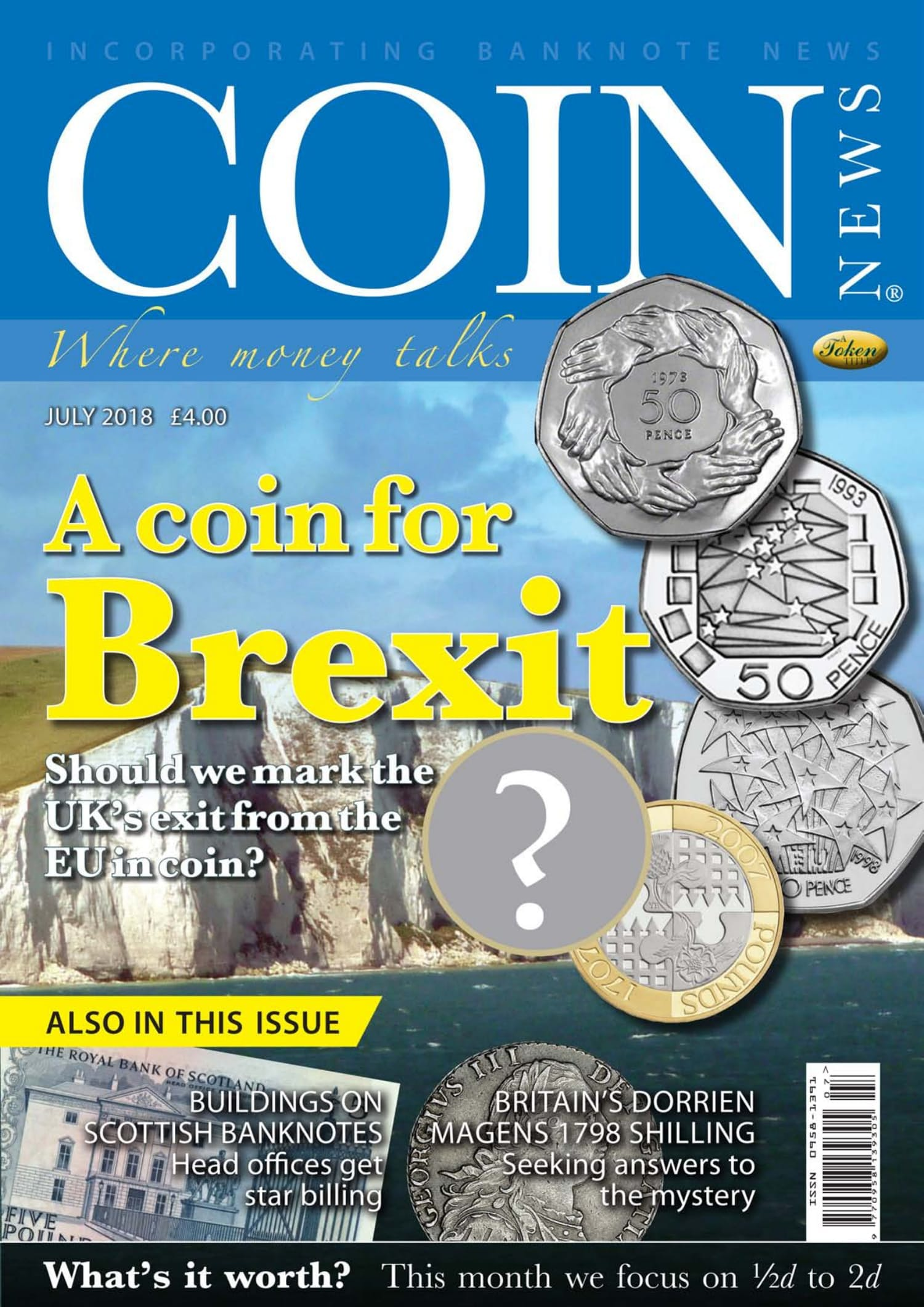 The front cover of Coin News, July 2018 - Volume 55, Number 7