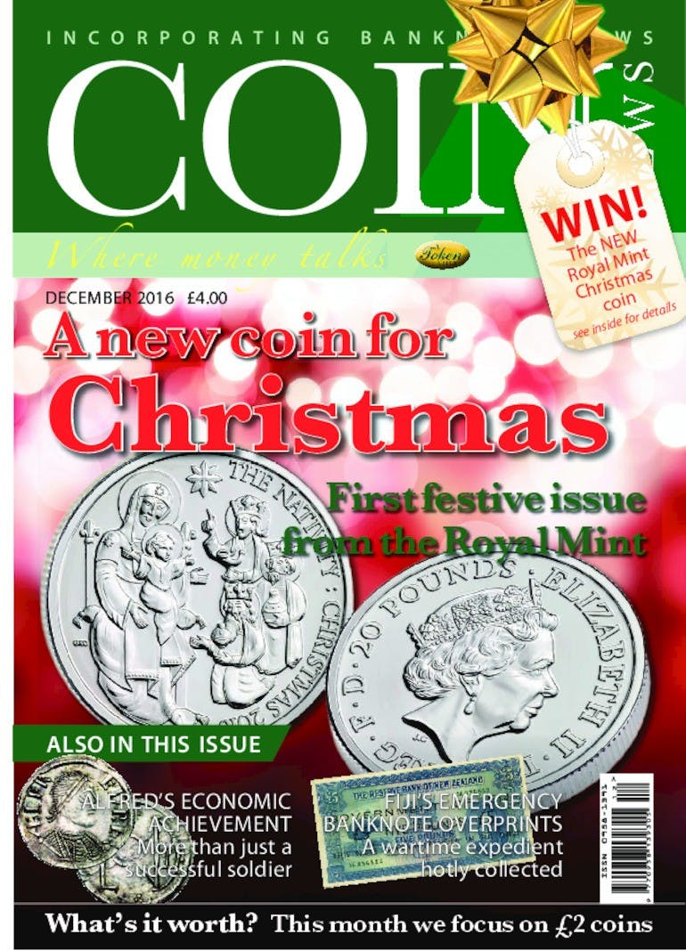 Front cover of 'A new coin for Christmas', Coin News December 2016, Volume 53, Number 12 by Token Publishing