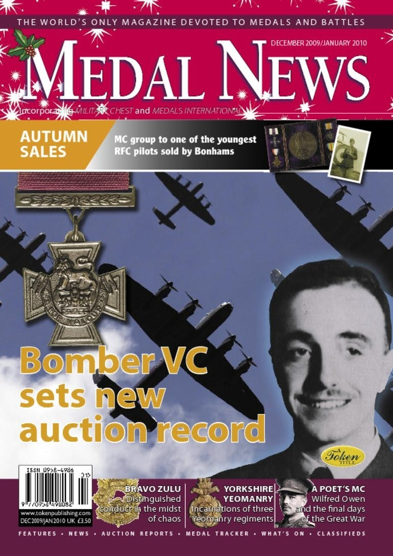 Front cover of 'Bomber VC sets new auction record', Medal News January 2010, Volume 48, Number 1 by Token Publishing