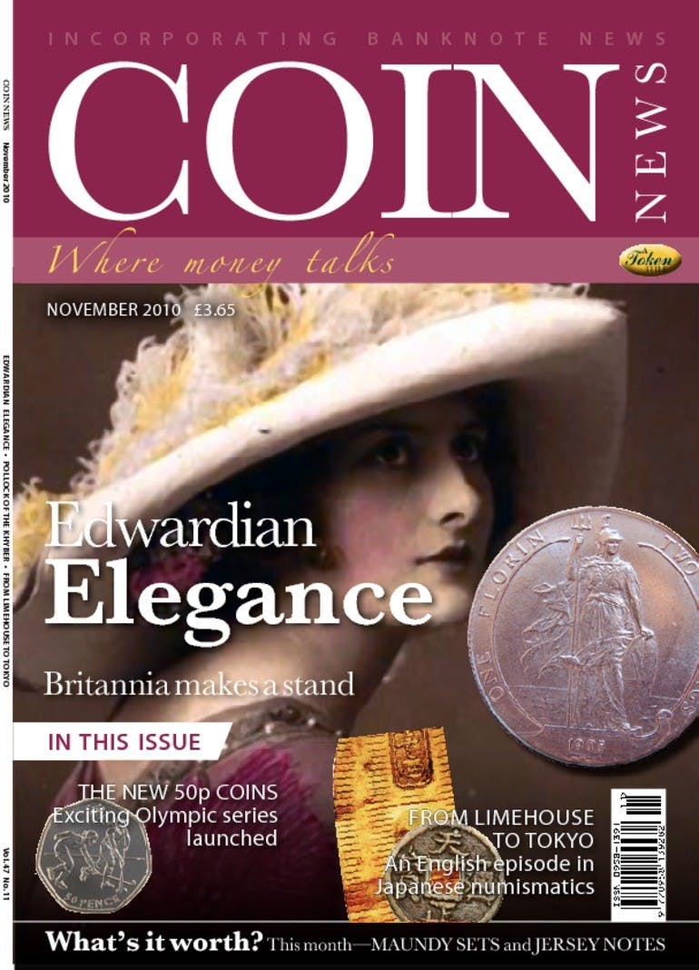 Front cover of 'Edwardian Elegance', Coin News November 2010, Volume 47, Number 11 by Token Publishing