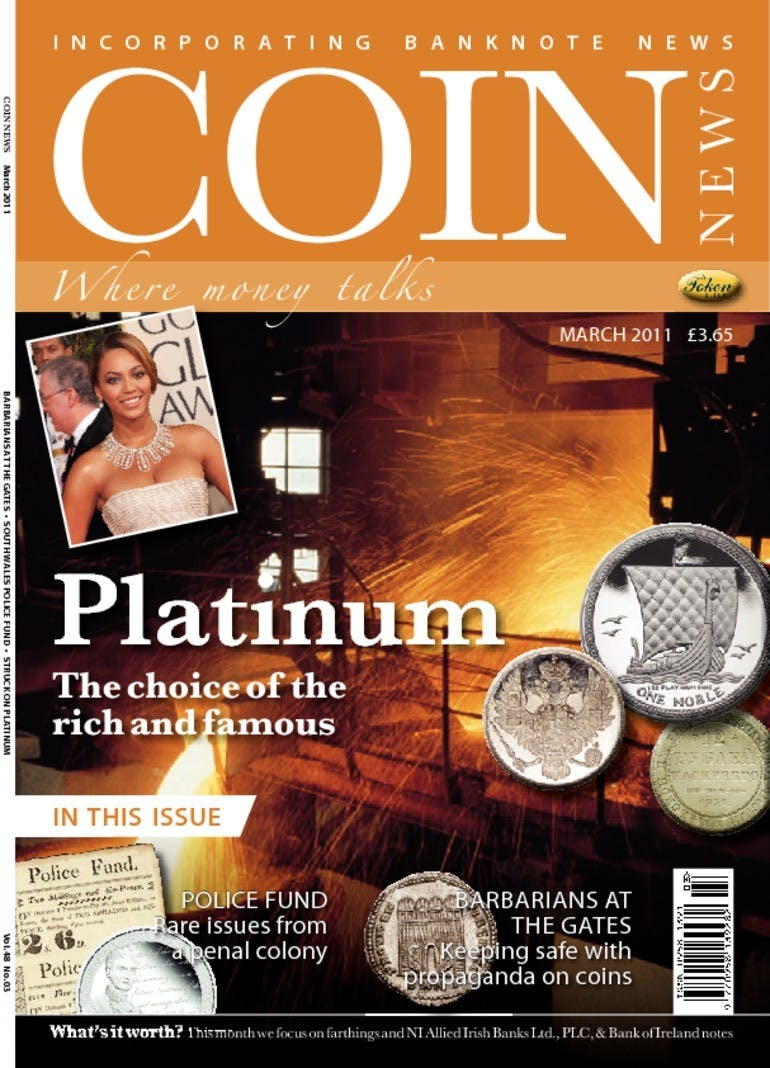 Front cover of 'Platinum  ( No longer available for sale)', Coin News March 2011, Volume 48, Number 3 by Token Publishing