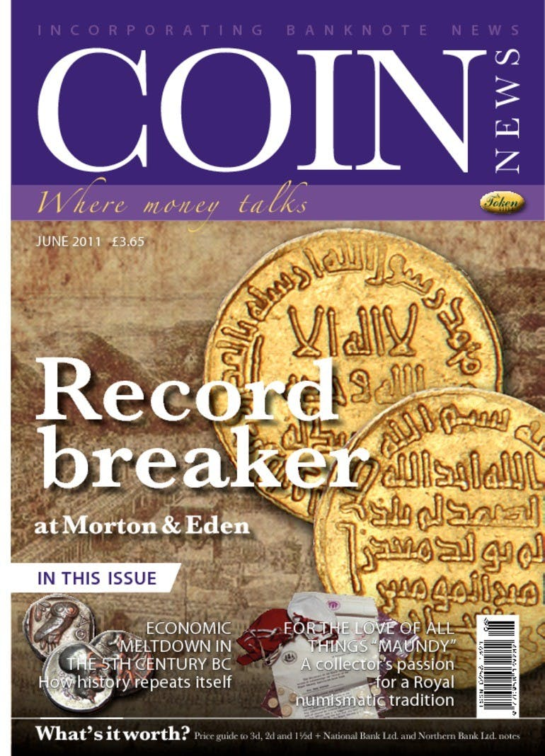 Front cover of 'Record breaker', Coin News June 2011, Volume 48, Number 6 by Token Publishing