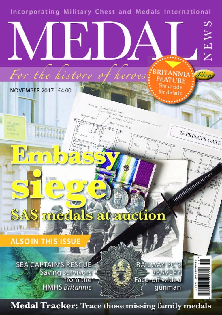 Front cover of 'Embassy Siege', Medal News November 2017, Volume 55, Number 10 by Token Publishing