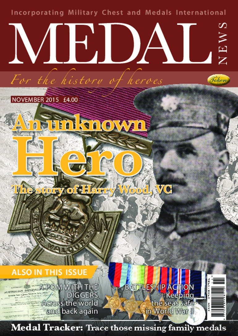 Front cover of 'An Unknown Hero', Medal News November 2015, Volume 53, Number 10 by Token Publishing