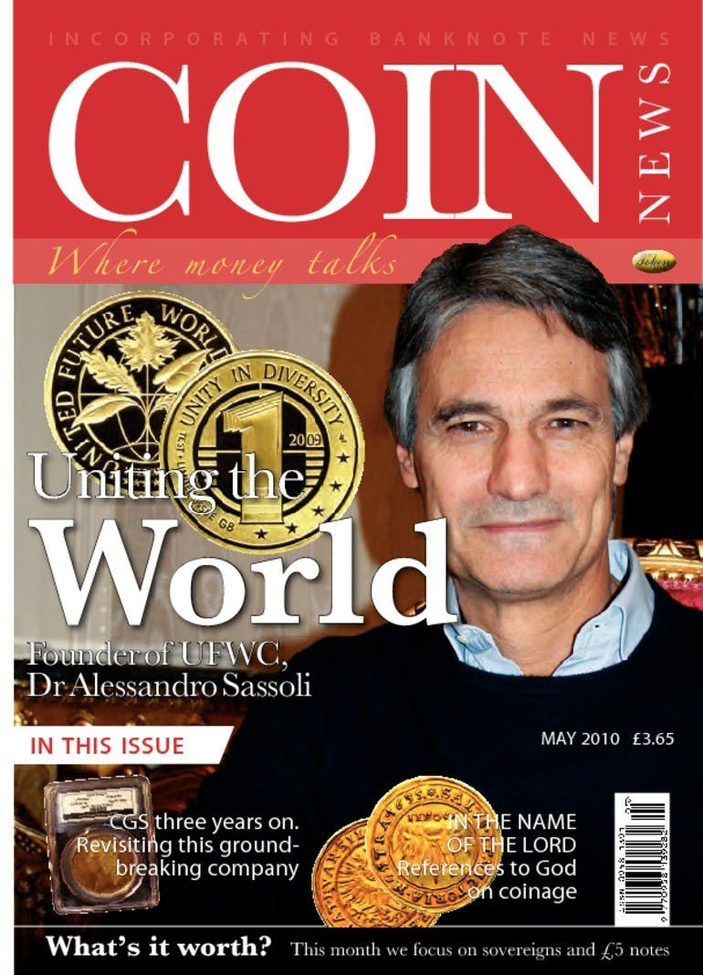 Front cover of 'Uniting the world', Coin News May 2010, Volume 47, Number 5 by Token Publishing