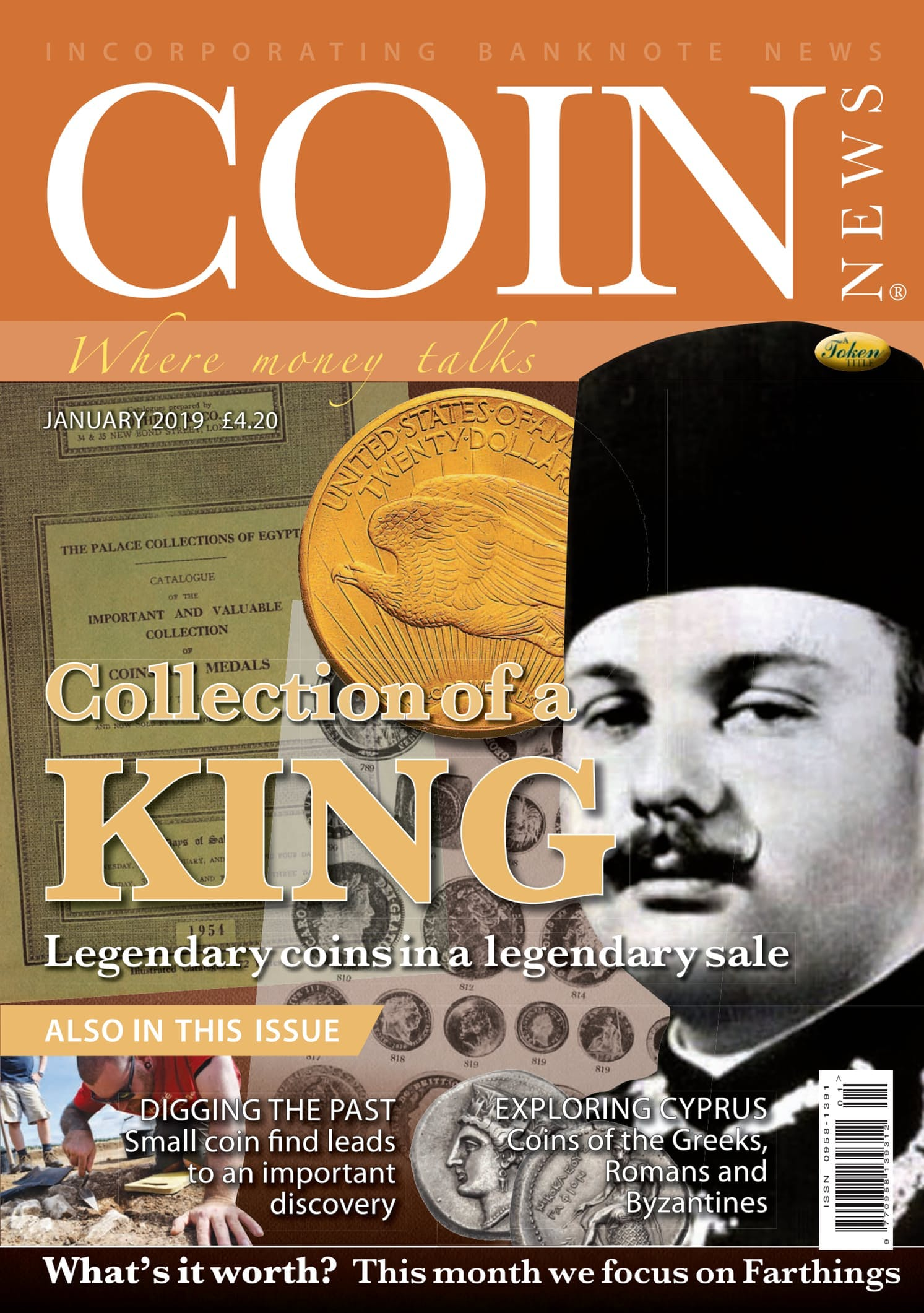 Front cover of 'Collection of a King', Coin News January 2019, Volume 56, Number 1 by Token Publishing
