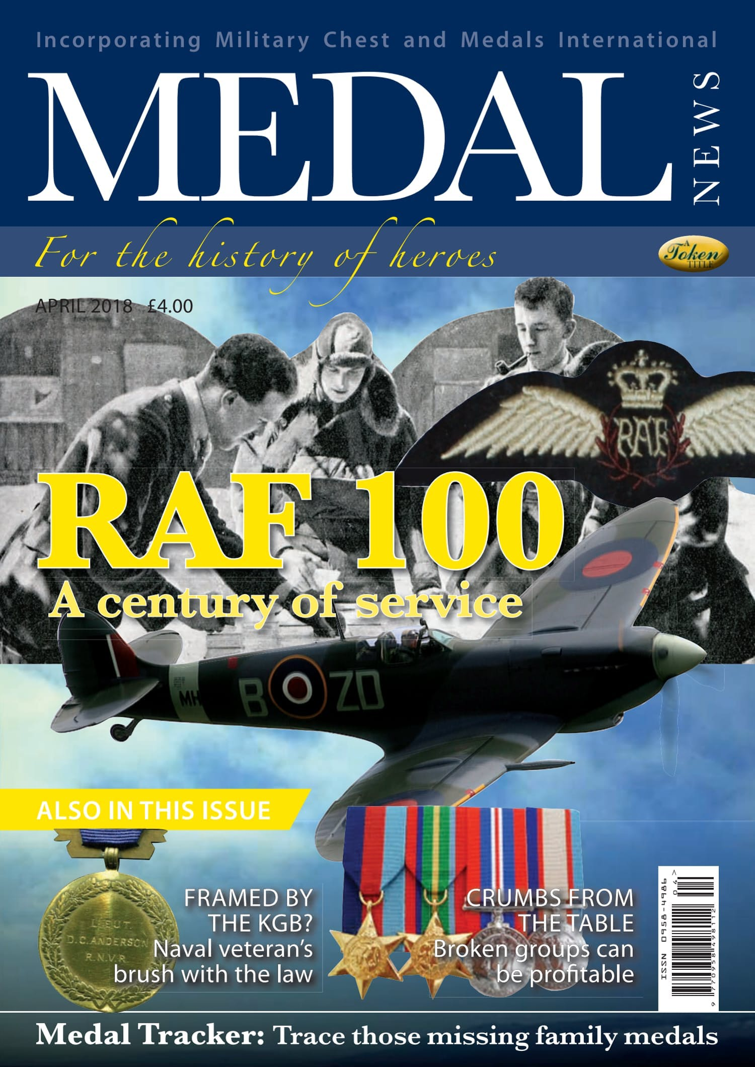 Front cover of 'RAF 100', Medal News April 2018, Volume 56, Number 4 by Token Publishing
