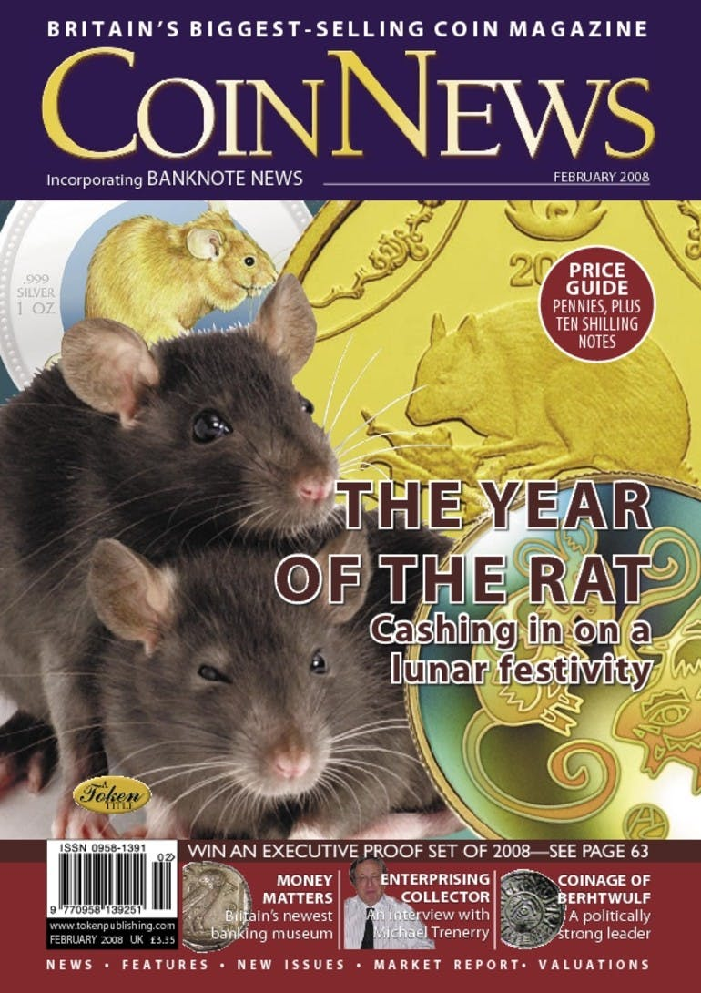 Front cover of 'The Year of the Rat', Coin News February 2008, Volume 45, Number 2 by Token Publishing