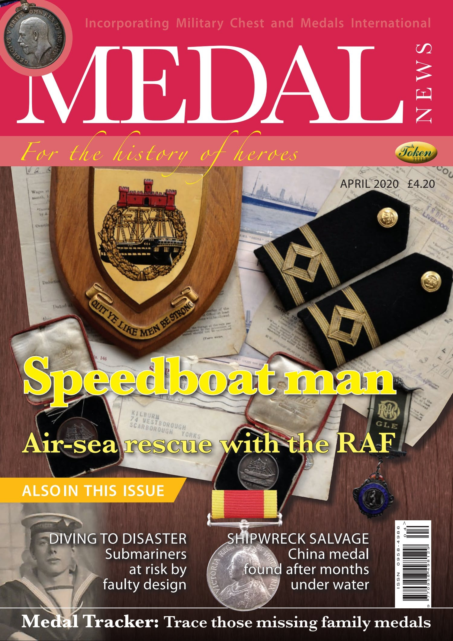 Front cover of 'Speedboat man', Medal News April 2020, Volume 58, Number 4 by Token Publishing