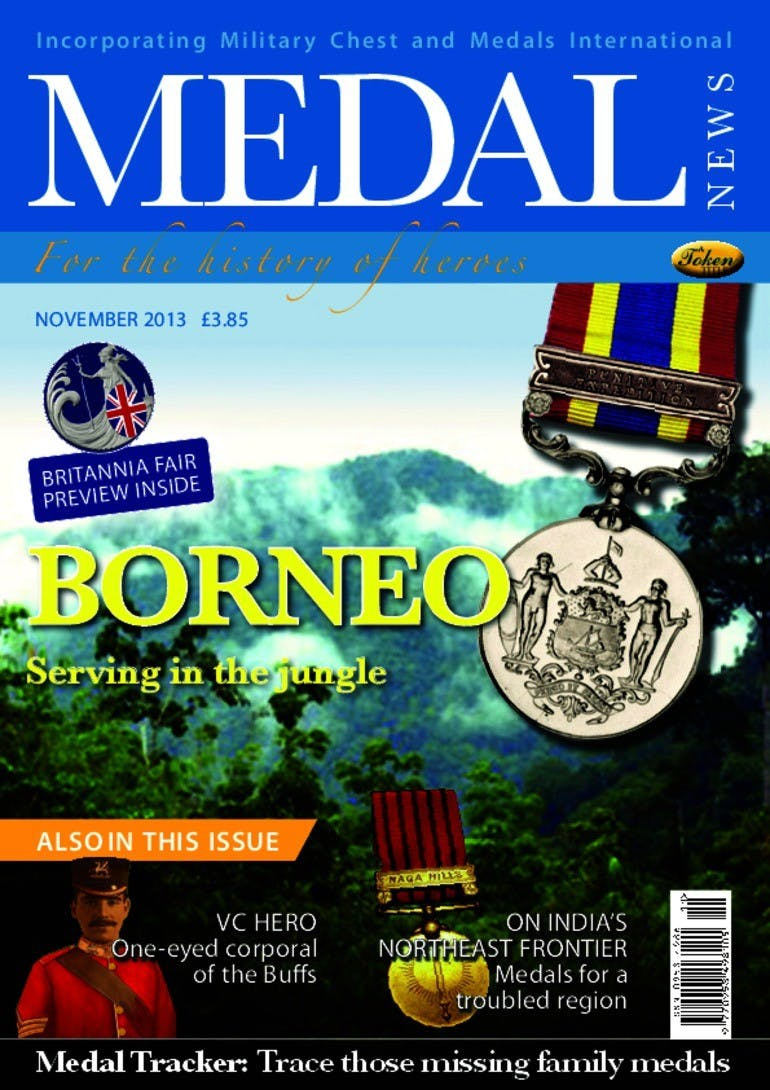 Front cover of 'Borneo', Medal News November 2013, Volume 51, Number 10 by Token Publishing