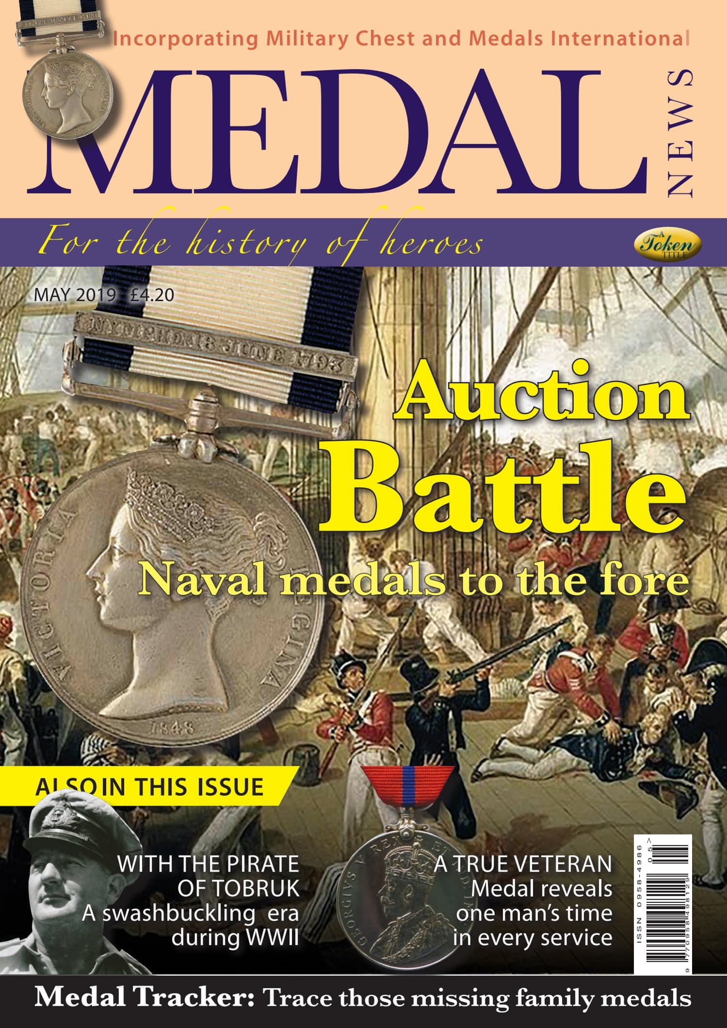 Front cover of 'Auction Battle', Medal News May 2019, Volume 57, Number 5 by Token Publishing
