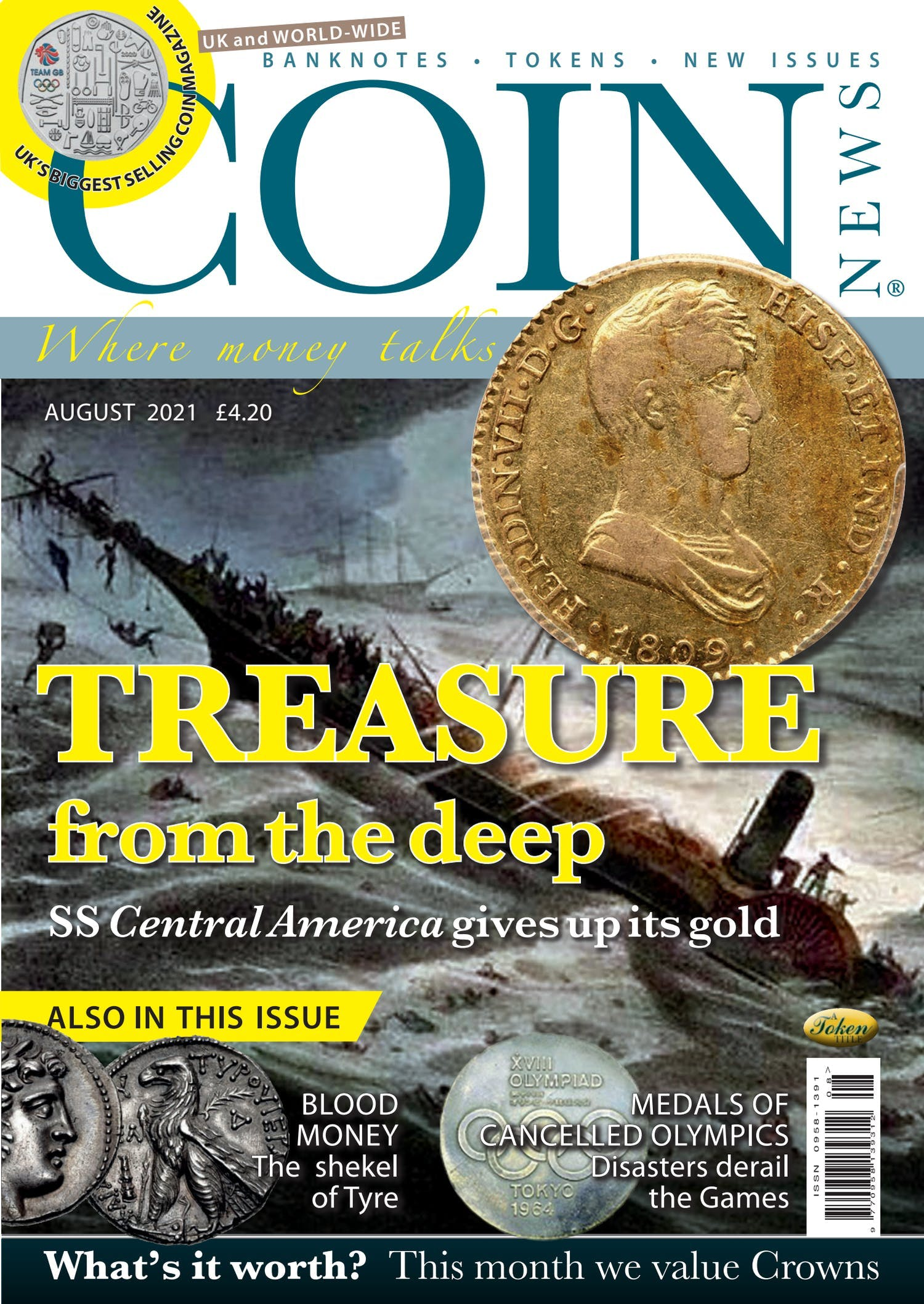 The front cover of Coin News, August 2021 - Volume 58, Number 8