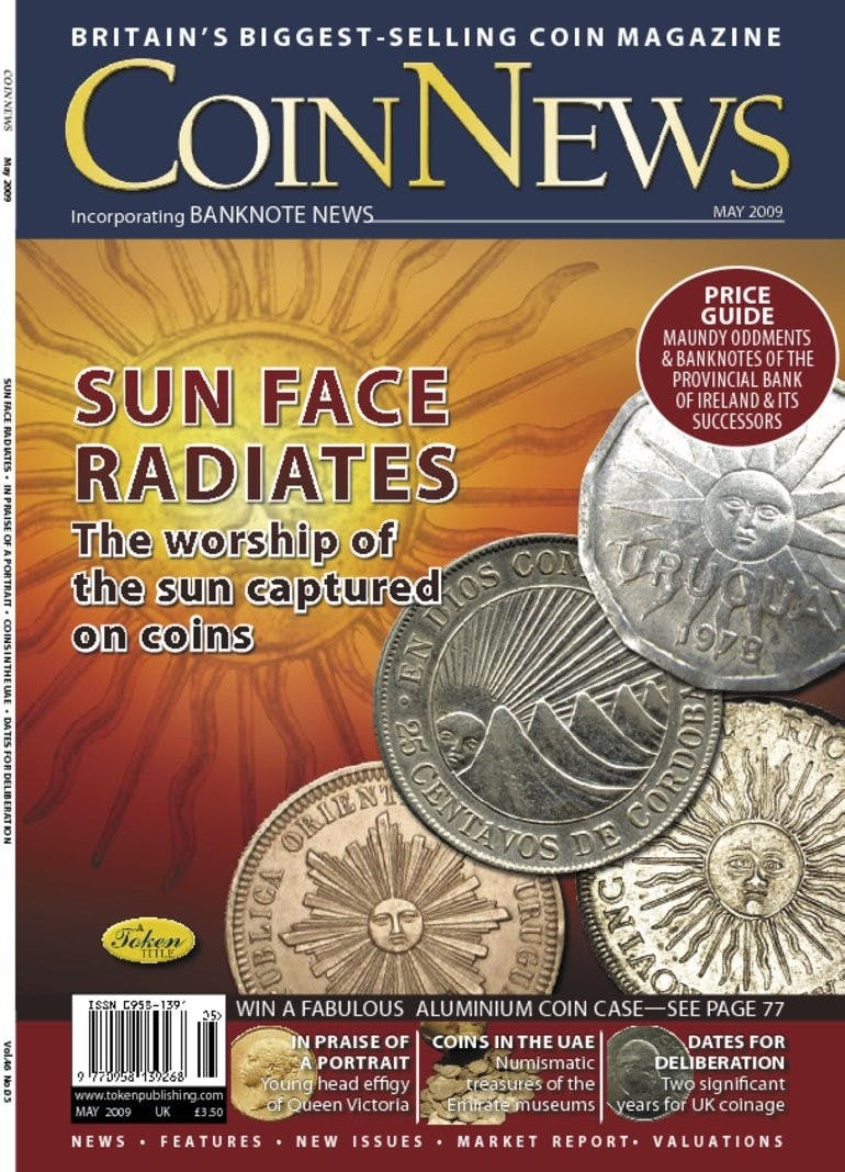 Front cover of 'Sun Face Radiates', Coin News May 2009, Volume 46, Number 5 by Token Publishing