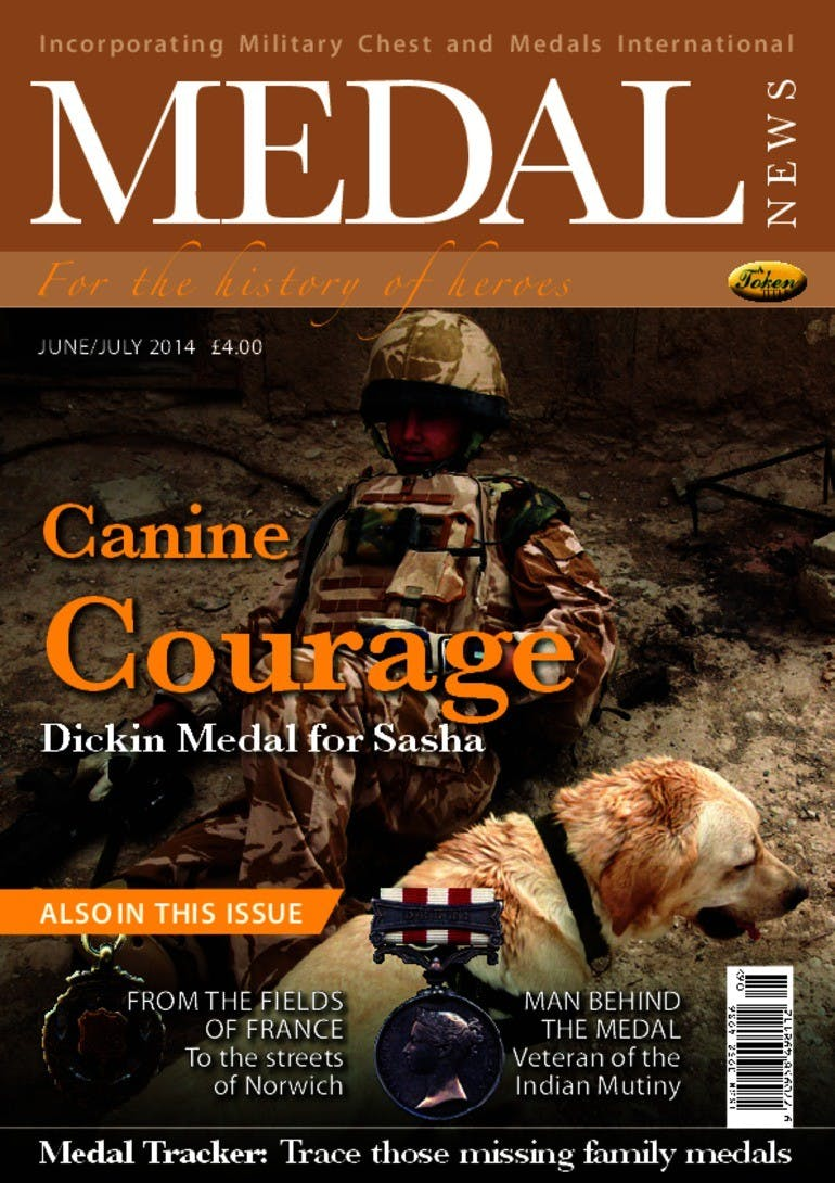 Front cover of 'Canine Courage', Medal News June 2014, Volume 52, Number 6 by Token Publishing