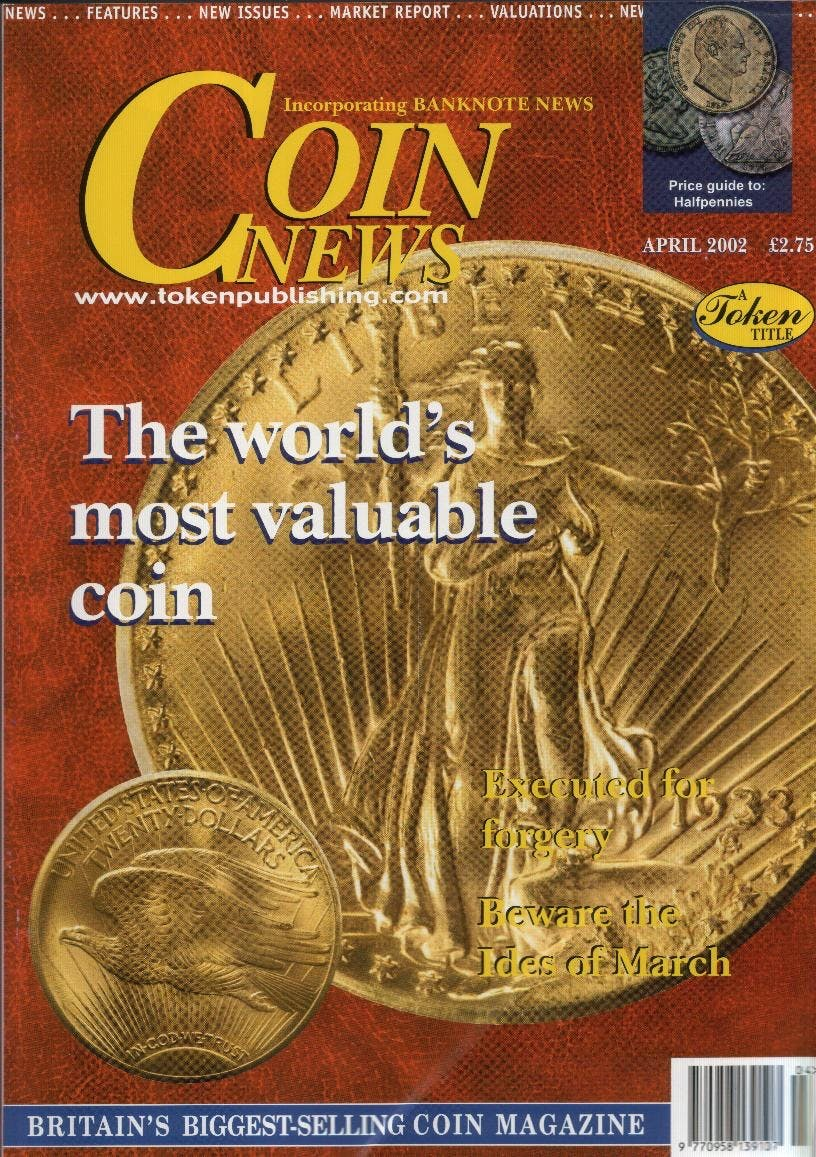 Front cover of 'Figures say it all - or nothing', Coin News April 2002, Volume 39, Number 4 by Token Publishing