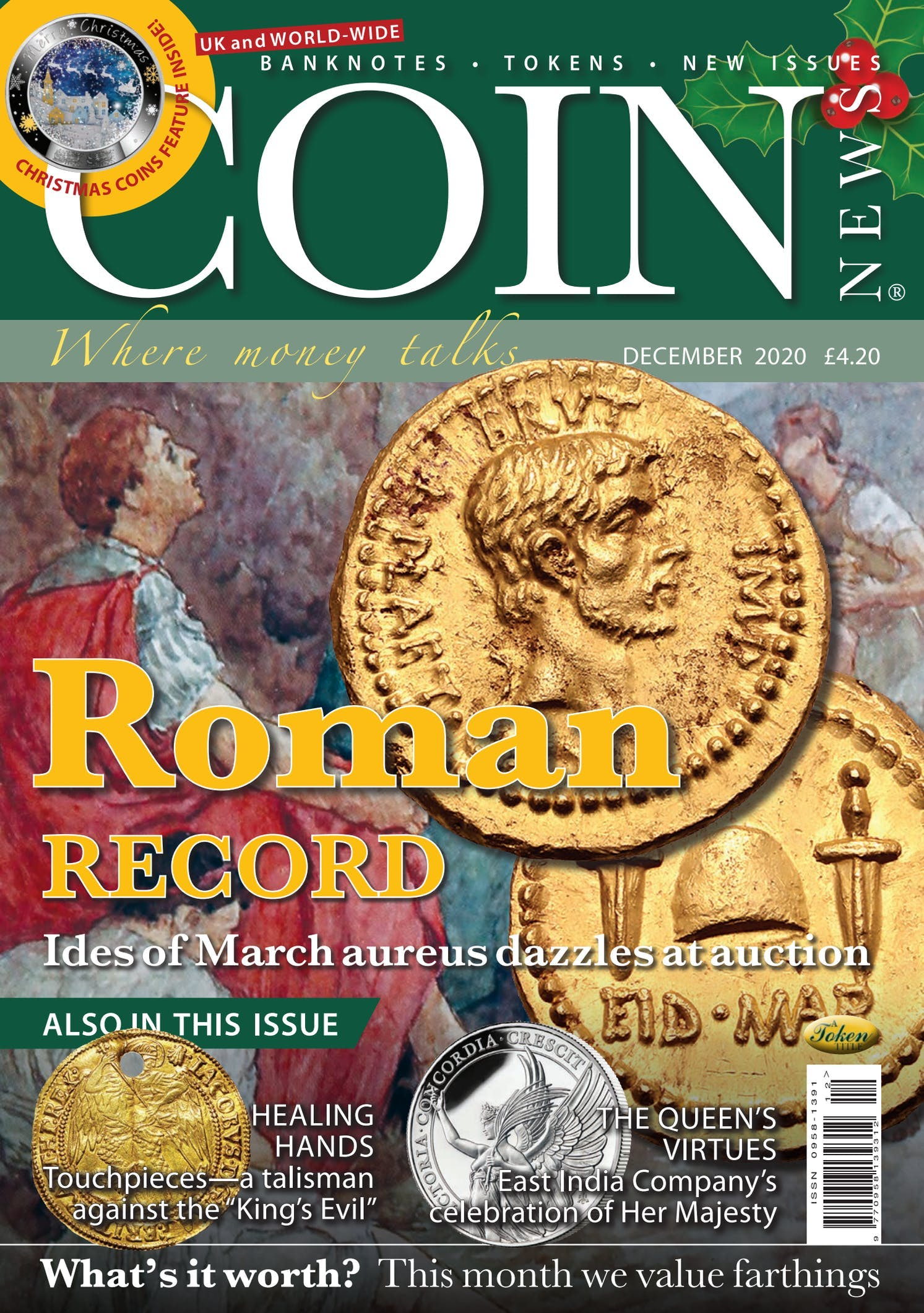 Front cover of 'Roman record', Coin News December 2020, Volume 57, Number 12 by Token Publishing