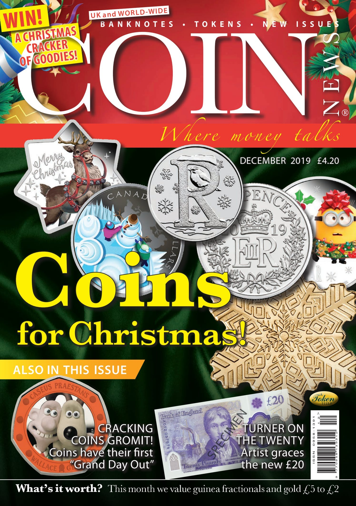 Front cover of 'Coins at Christmas', Coin News December 2019, Volume 56, Number 12 by Token Publishing