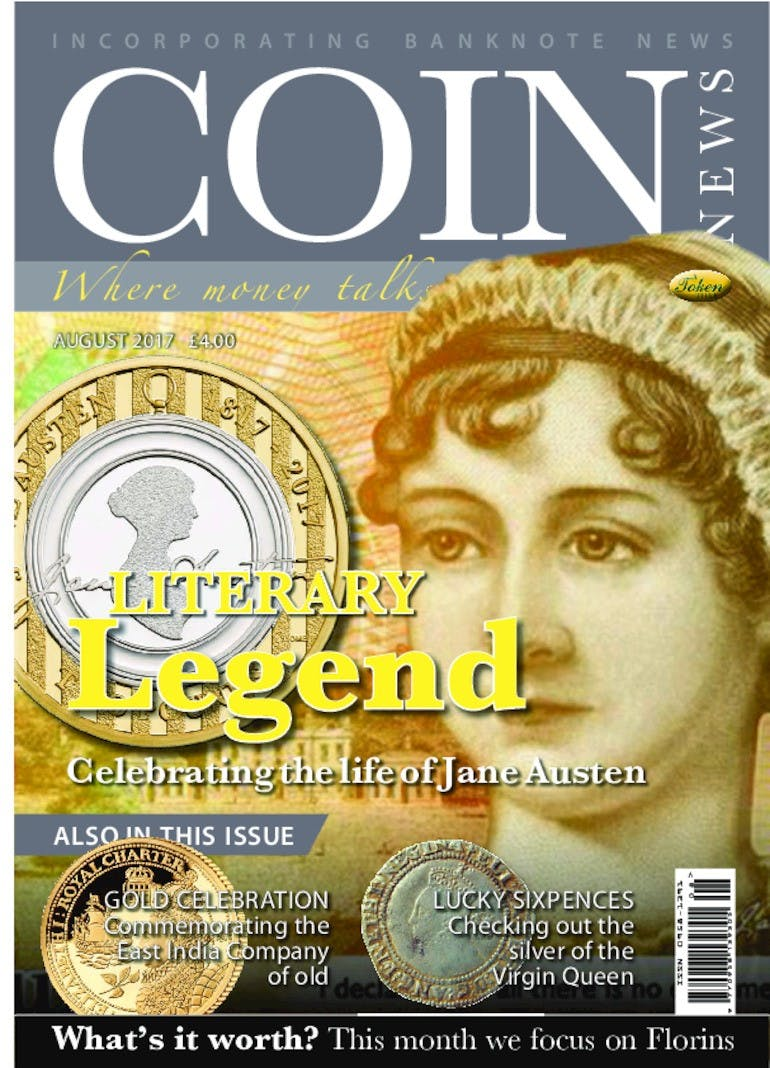 Front cover of 'Literary Legend', Coin News August 2017, Volume 54, Number 8 by Token Publishing