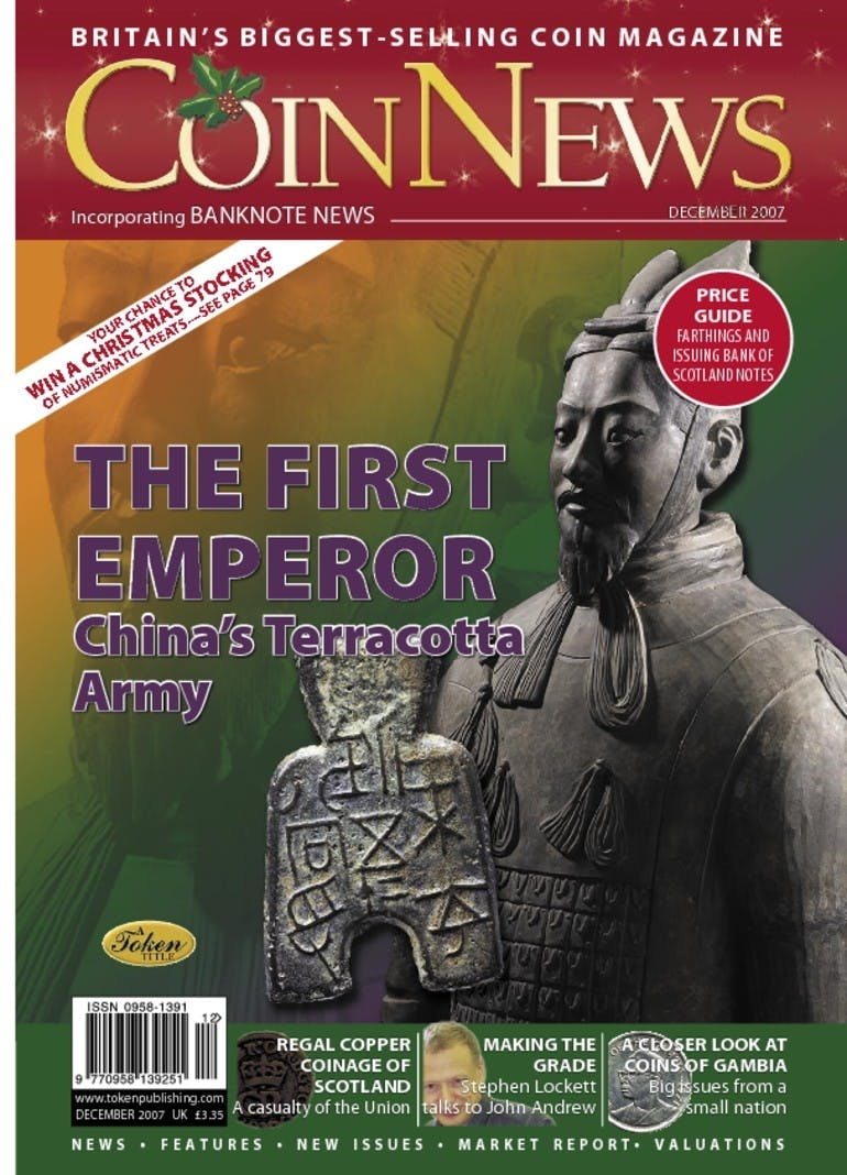 Front cover of 'The First Emperor', Coin News December 2007, Volume 44, Number 12 by Token Publishing