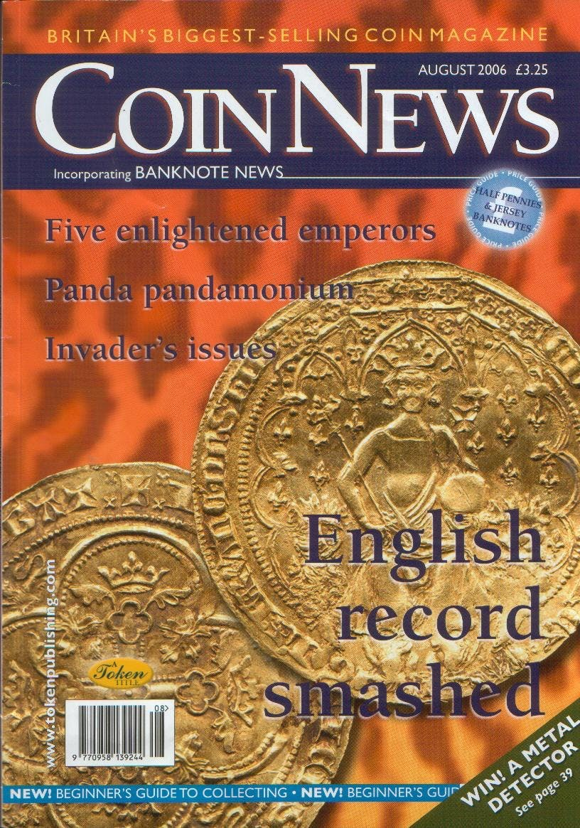Front cover of 'Better late than never', Coin News August 2006, Volume 43, Number 8 by Token Publishing