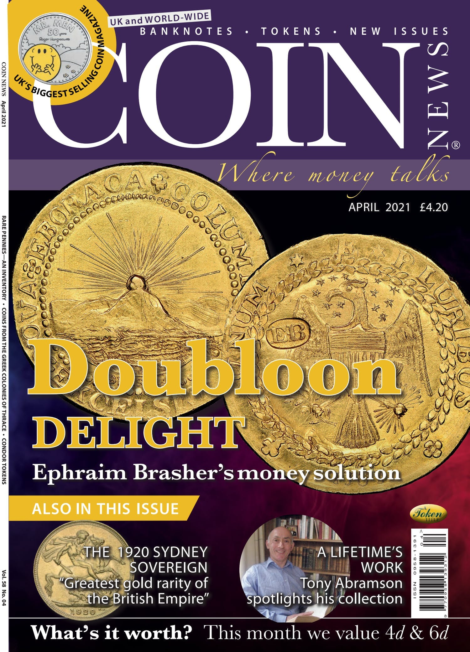 The front cover of Coin News, Volume 58, Number 4, April 2021