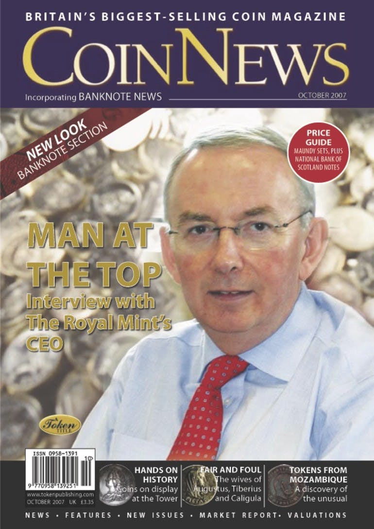 Front cover of 'Man at the Top', Coin News October 2007, Volume 44, Number 10 by Token Publishing