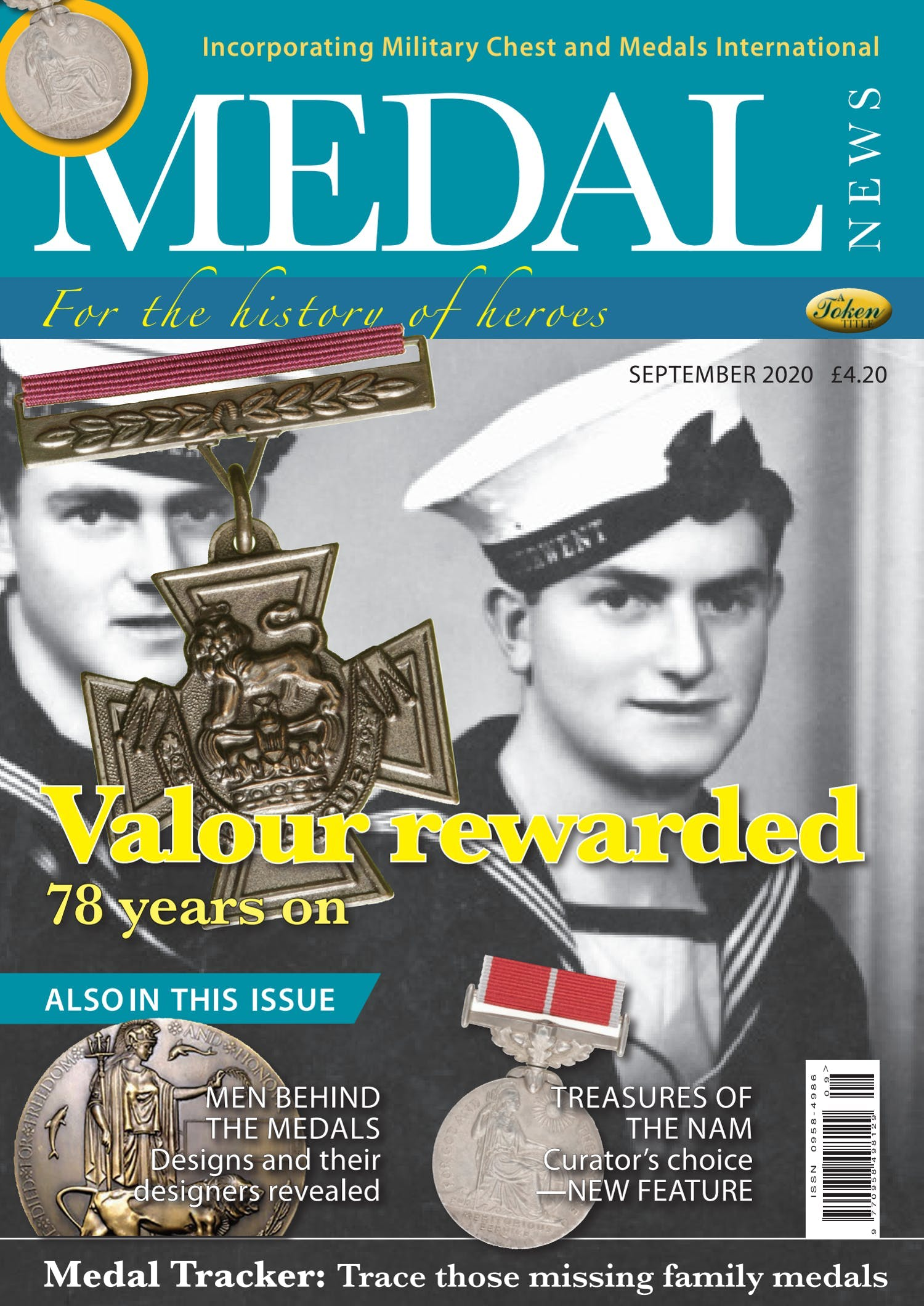 The front cover of Medal News, Volume 58, Number 8, September 2020