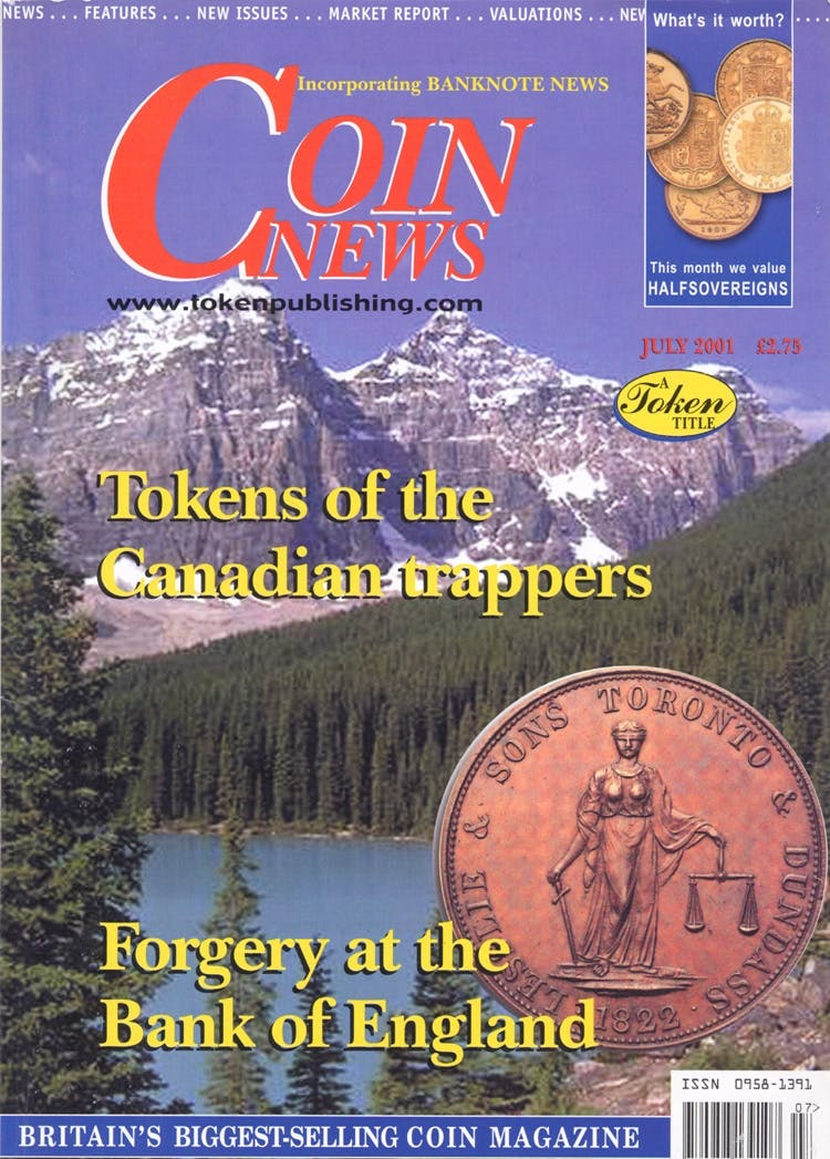 Front cover of 'Grabbing at History', Coin News July 2001, Volume 38, Number 7 by Token Publishing