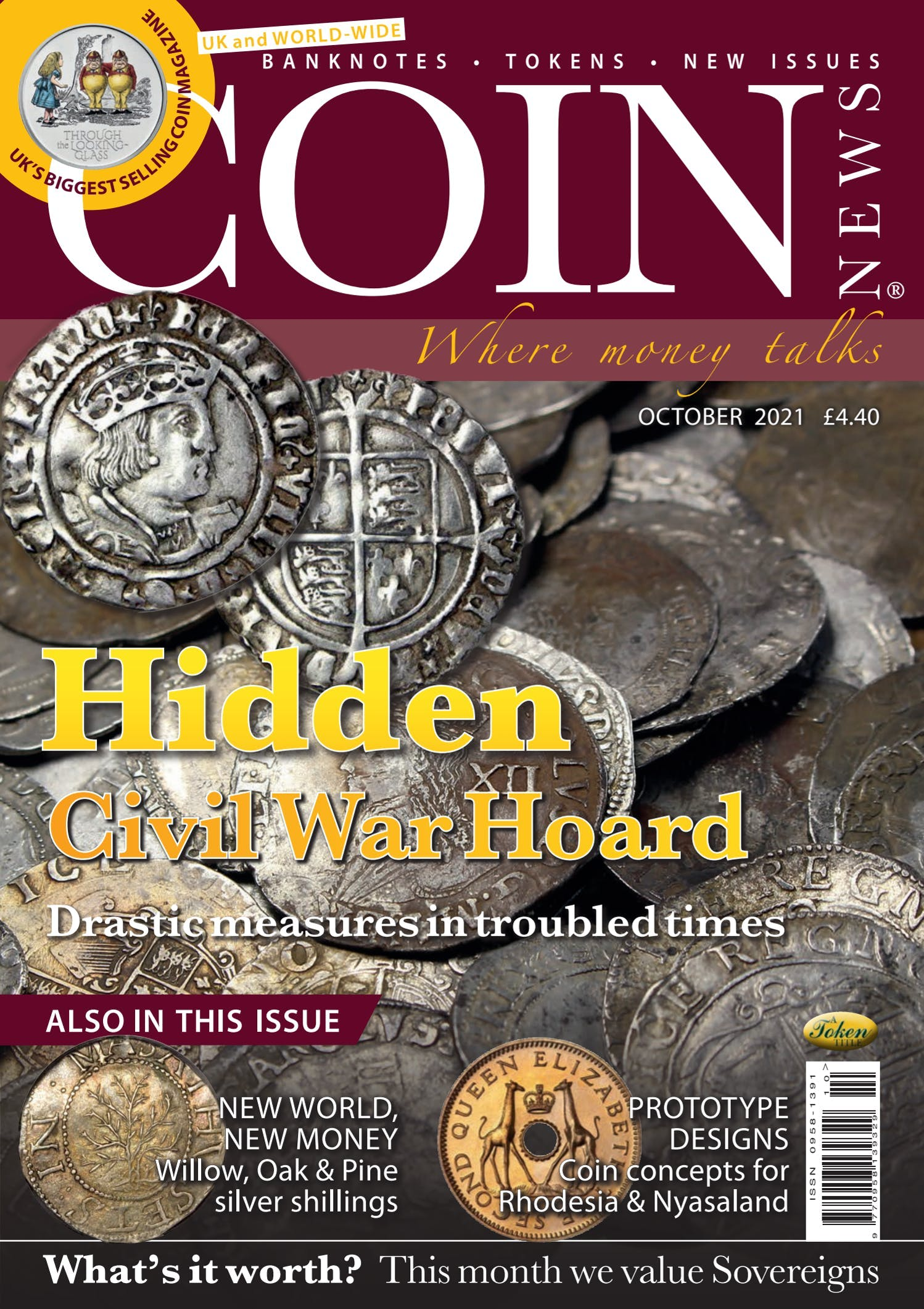 Front cover of 'Hidden', Coin News October 2021, Volume 58, Number 10 by Token Publishing