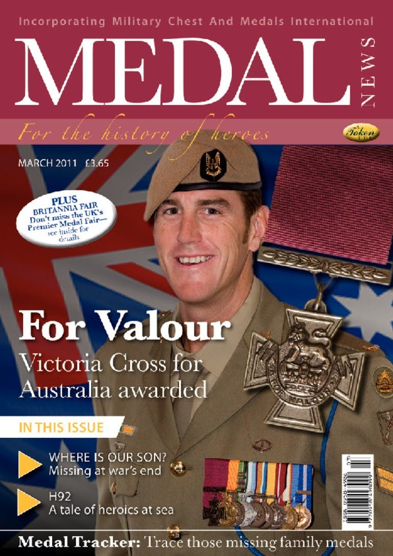 Front cover of 'For Valour', Medal News March 2011, Volume 49, Number 3 by Token Publishing