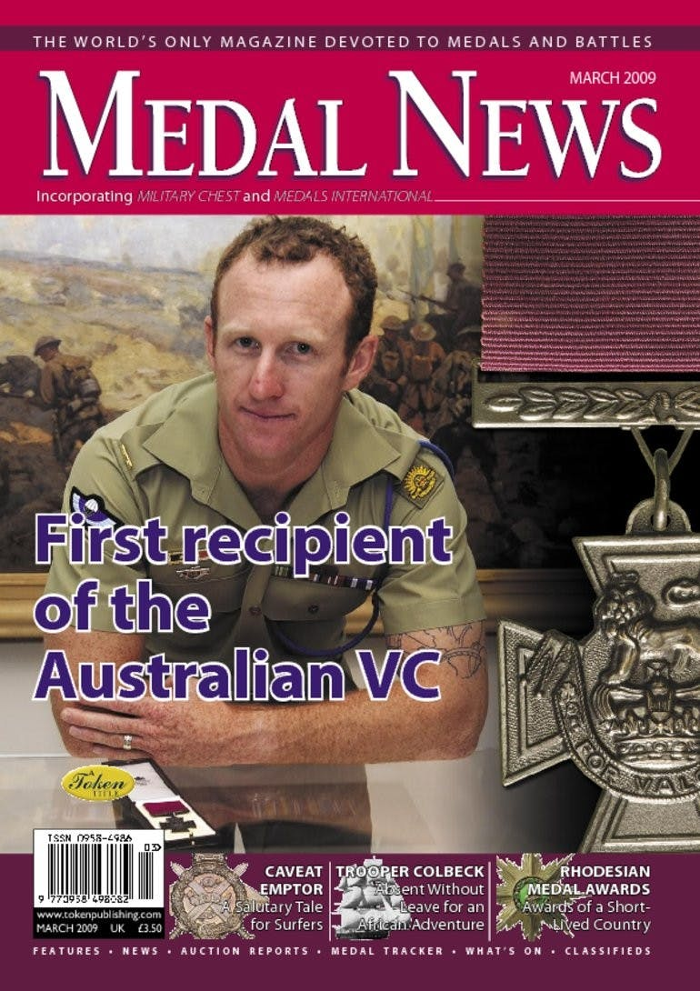 Front cover of 'First recipient of the Australian VC', Medal News March 2009, Volume 47, Number 3 by Token Publishing