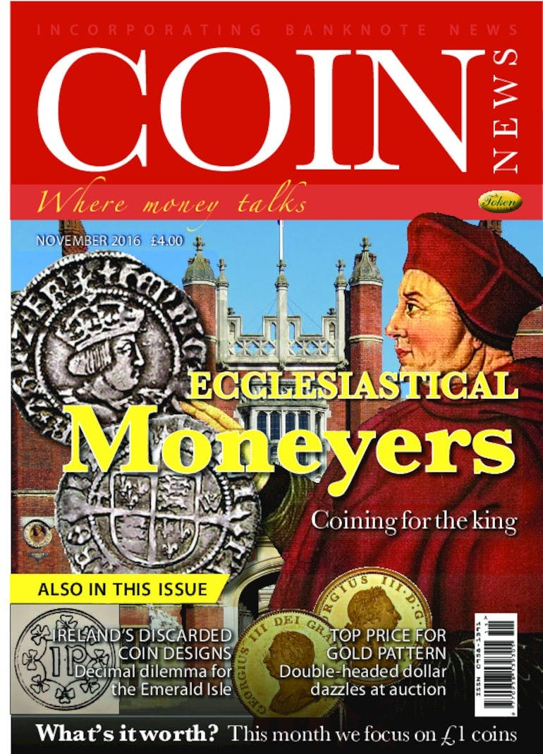 Front cover of 'Ecclesiastical Moneyers', Coin News November 2016, Volume 53, Number 11 by Token Publishing