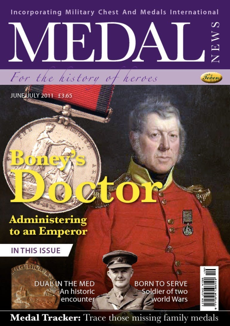 Front cover of 'Boney's Doctor', Medal News June 2011, Volume 49, Number 6 by Token Publishing